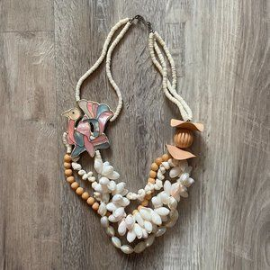 Multi Strand Mother of Pearl  Flamingo Necklace